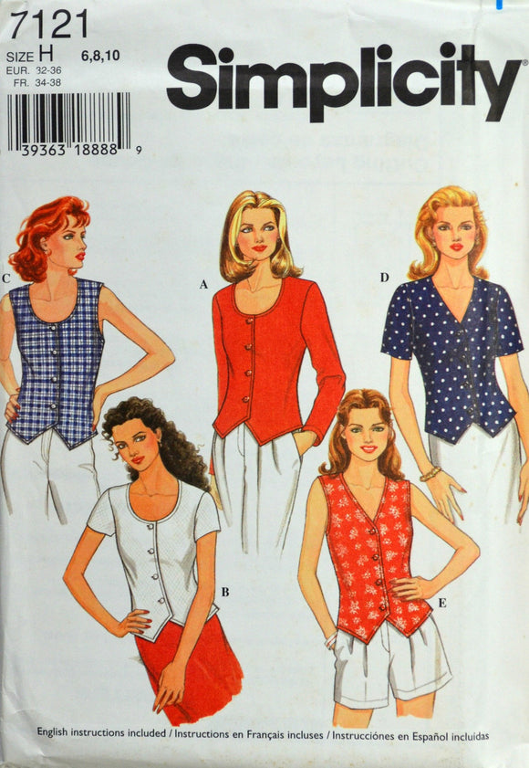 Uncut 1990s Simplicity Vintage Sewing Pattern 7121; Size 6-8-10