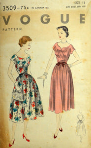1950s Vogue Vintage Sewing Pattern 3509, Size 13; One Piece Dress