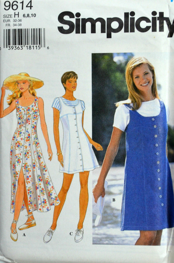 Uncut 1990s Simplicity Vintage Sewing Pattern 9614, Size 6-8-10