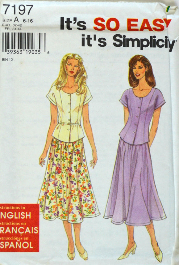 Uncut 1990s Simplicity Vintage Sewing Pattern 7197; Size 6-16