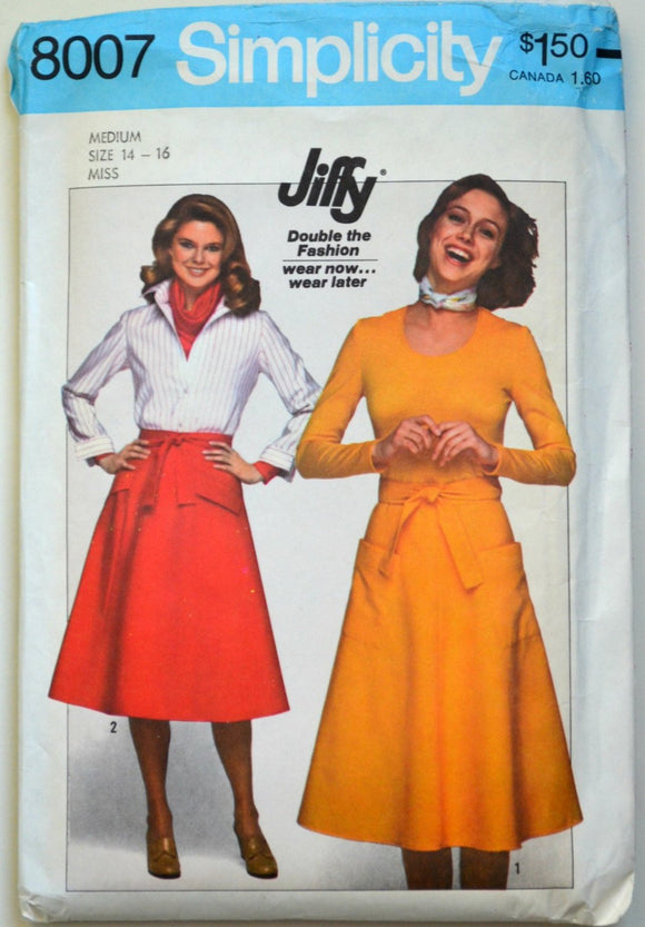 1970s Simplicity Vintage Sewing Pattern 8007, Size Medium 14-16; Misses' Jiffy Back-Wrap Skirts