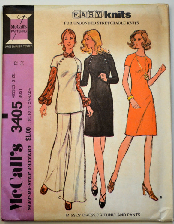 Uncut 1970s McCall's Vintage Sewing Pattern 3405, Size 12; Misses' Dress or Tunic and Pants