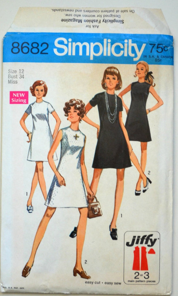 Uncut 1970s Simplicity Vintage Sewing Pattern 8682, Size 12; Misses' Jiffy Dress