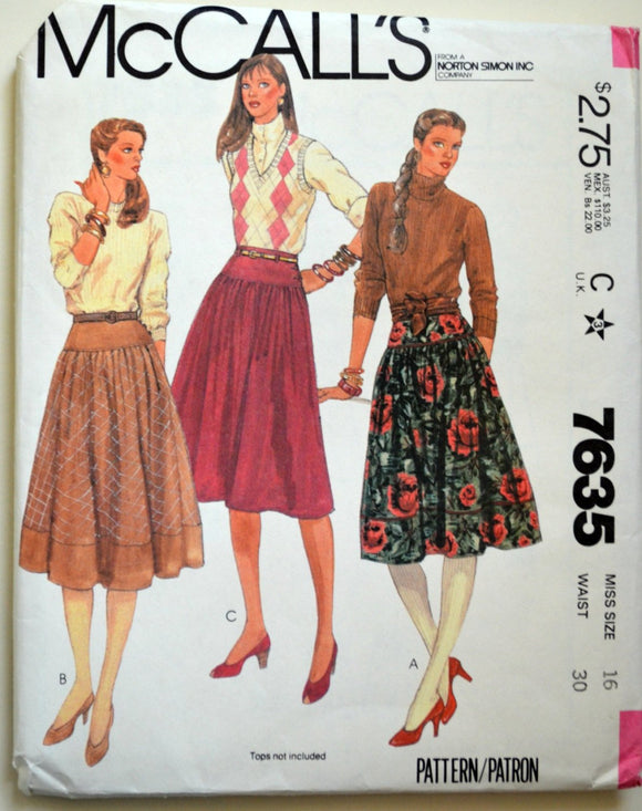 Uncut 1980s McCall's Vintage Sewing Pattern 7635, Size 16; Misses' Skirts