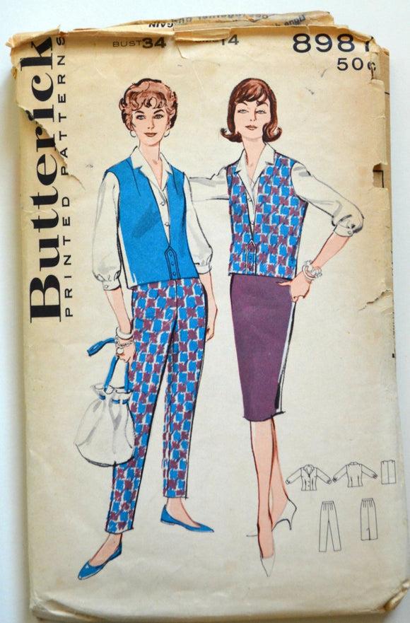 1950s Butterick Vintage Sewing Pattern 8987, Size 14; Misses' Easy-Fit Coordinates