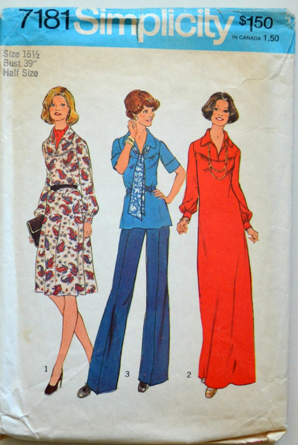 1970s Simplicity Vintage Sewing Pattern 7181, Size 16.5; Dress in Two-Lengths or Top and Scarf in Half-Sizes
