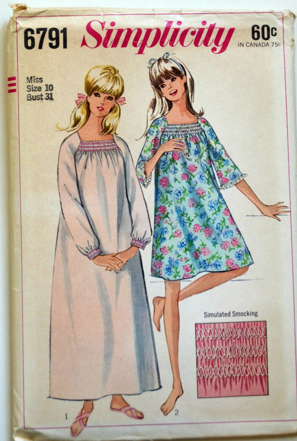 Uncut 1960s Simplicity Vintage Sewing Pattern 6791, Size 10