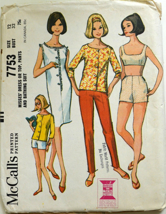 Uncut 1960s McCall's Vintage Sewing Pattern 7753, Size 12; Misses' Dress or Top, Pants, and Bathing Suit