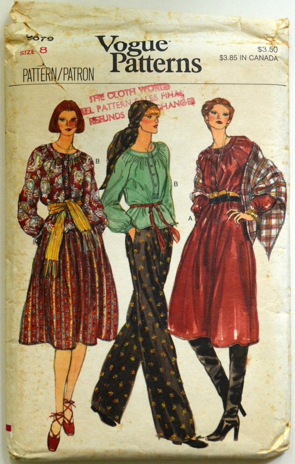 Uncut 1970s Vogue Vintage Sewing Pattern 9679, Size 8; Misses' Top, Dress, Skirt, Pants, and Shawl
