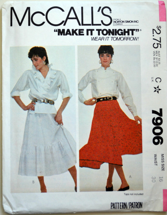Uncut 1980s McCall's Vintage Sewing Pattern 7906, Size 16; Misses' Skirt
