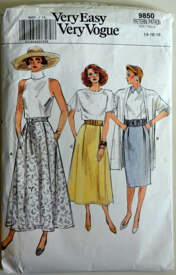 1980s Vogue Vintage Sewing Pattern 9850, Size 14, 16, 18