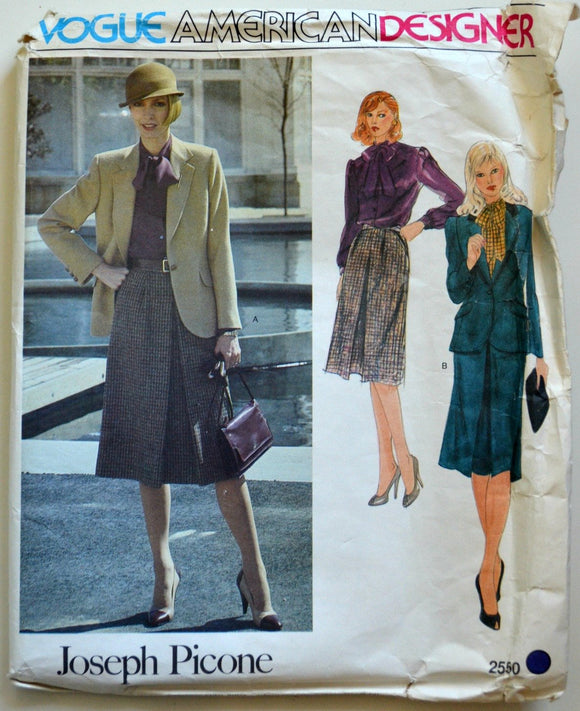 Uncut 1980s Vogue Vintage Sewing Pattern 2550, Size 10; Misses' Jacket, Skirt, and Blouse