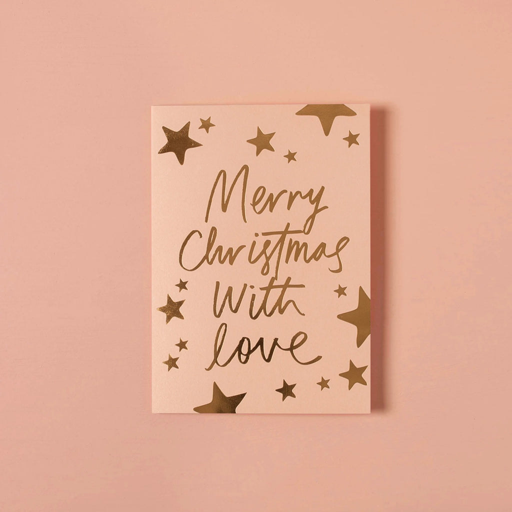 Merry Christmas With Love. Rose card
