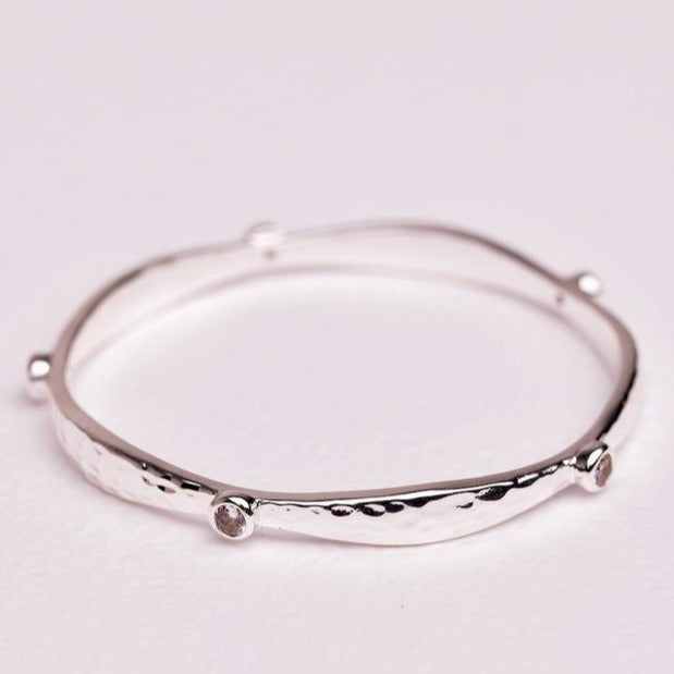 Crystal Bangle - Silver
