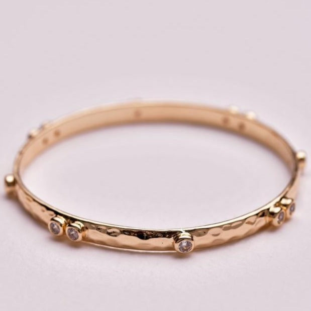 Double Crystal Bangle - Gold