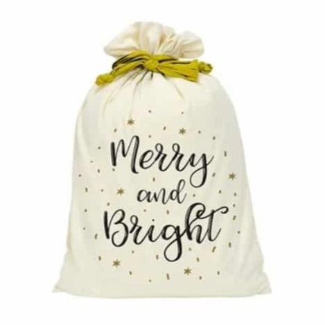 Canvas Santa Sack - Merry & Bright