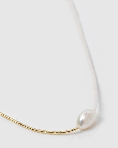 Matilda Two Toned Pearl & Glass Beaded Necklace White-White