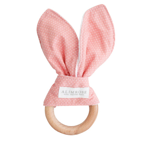 Bailey Bunny Teether - Pink/White Spot
