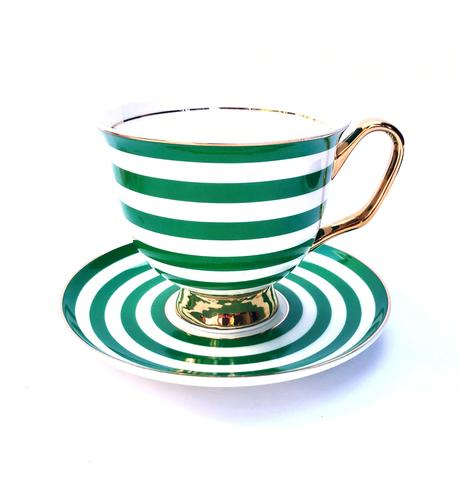 XL Stripe Green Teacup & Saucer