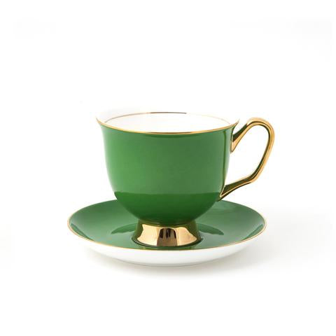 XL Green Teacup & Saucer