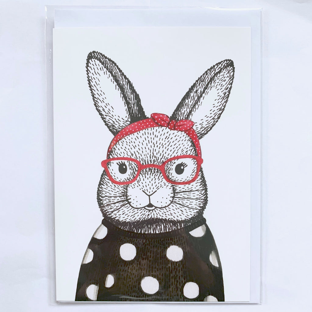 Bunny with Glasses Card