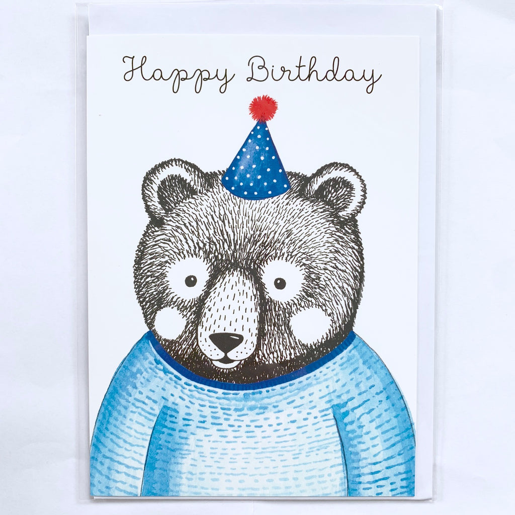 Bear with Party Hat Card