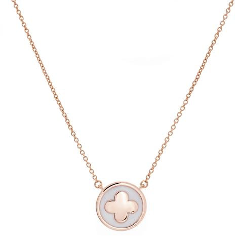 Sybella White Enamel/Rose Gold Round Flower Necklace P314RG