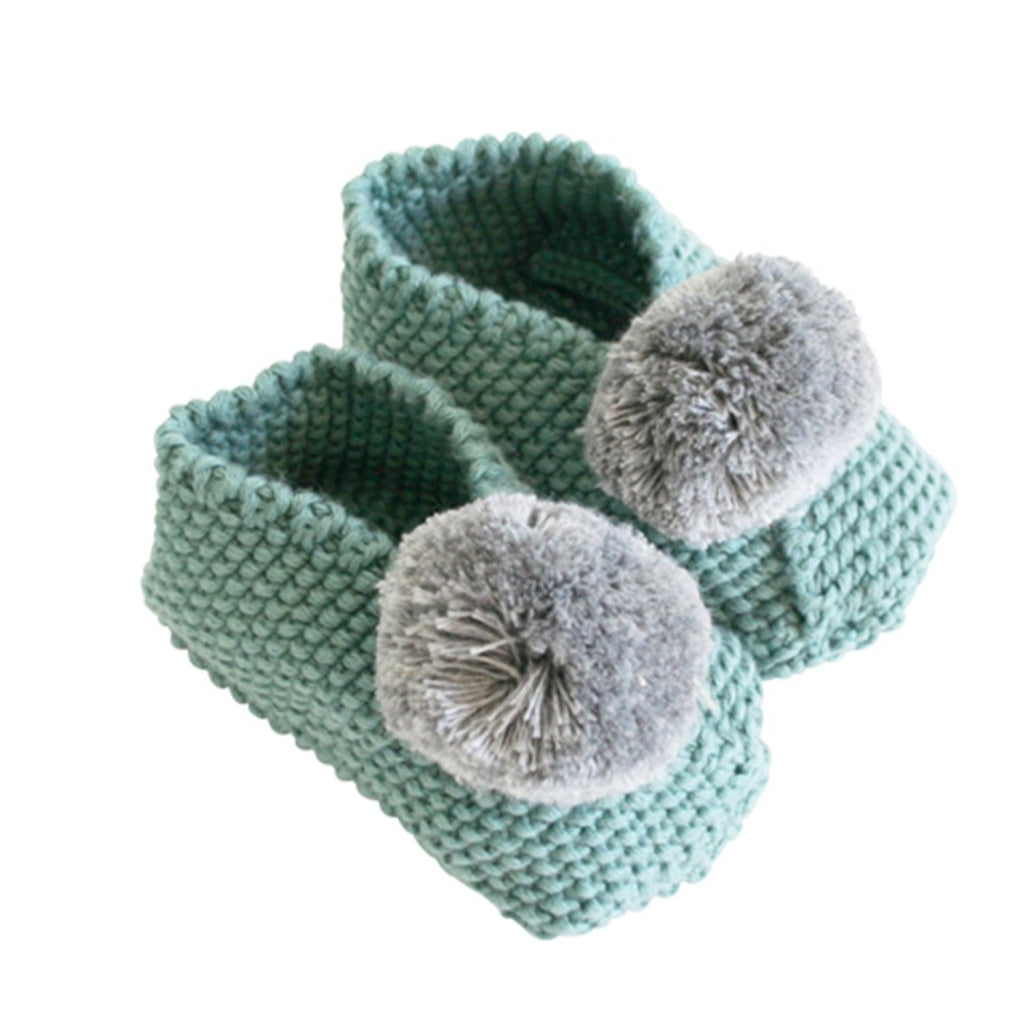 Baby Pom Pom Slippers - Sage & Grey