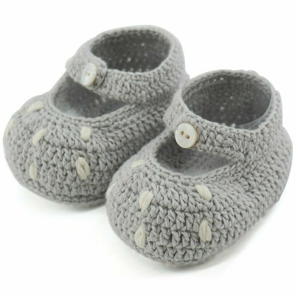 Bambi Cotton Crochet Booties - Grey