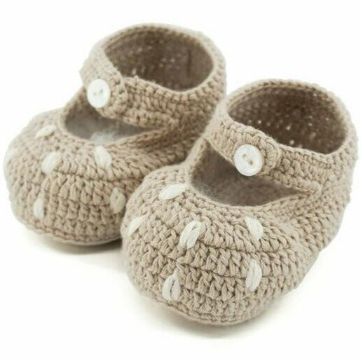 Bambi Cotton Crochet Booties - Natural