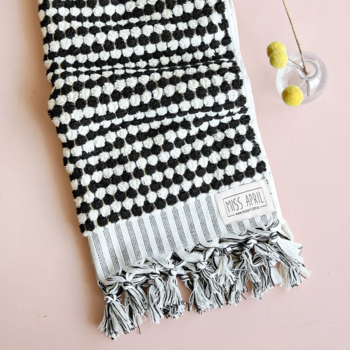 Black/White Hand Towel by Miss April