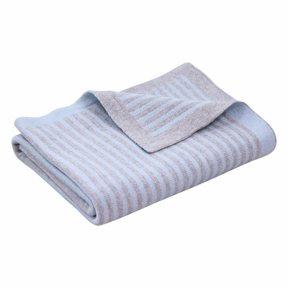 Coocoo Cotton Knit Stripe Blanket - Blue