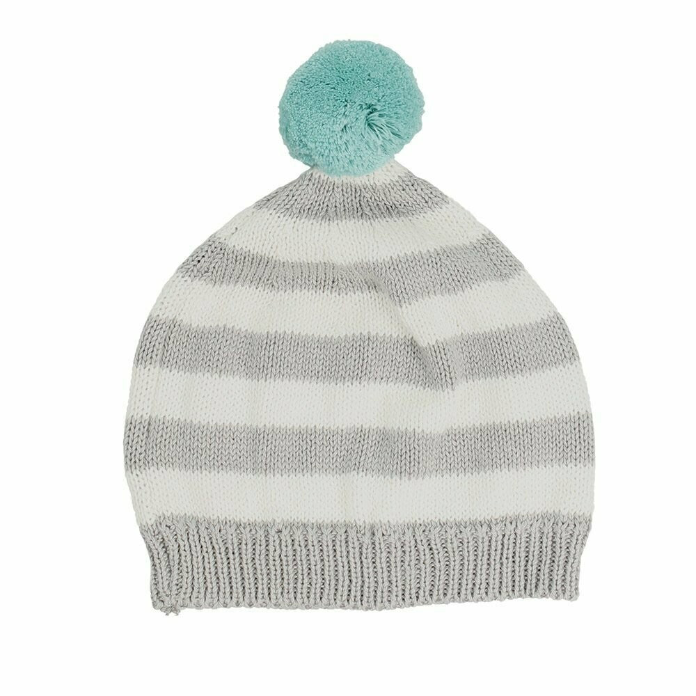 Mason Cotton Stripe Baby Hat - Aqua