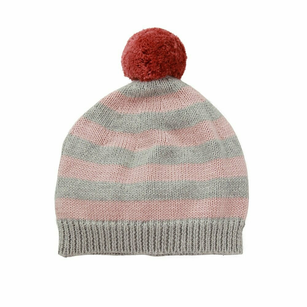 Mason Cotton Stripe Pom Pom Hat - Pink