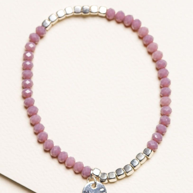 Two tone Crystal Bracelet - Grape Pink