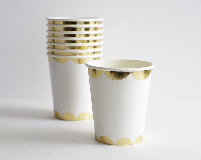 Gold Party Cups 8set