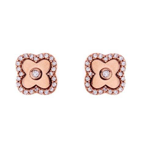 Solid Rose Gold CZ Flower Stud E494RG