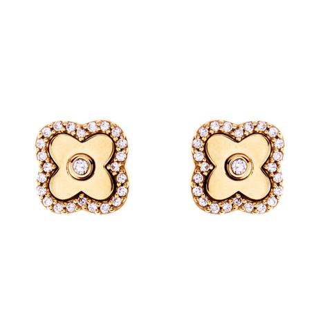 Solid Yellow Gold CZ Flower Stud E494GP