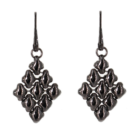 E11-BLK Black Chrome Finish Earrings - Liquid Metal by Sergio Gutierrez