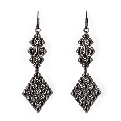 E16-BLK Black Chrome Finish Earrings - Liquid Metal by Sergio Gutierrez