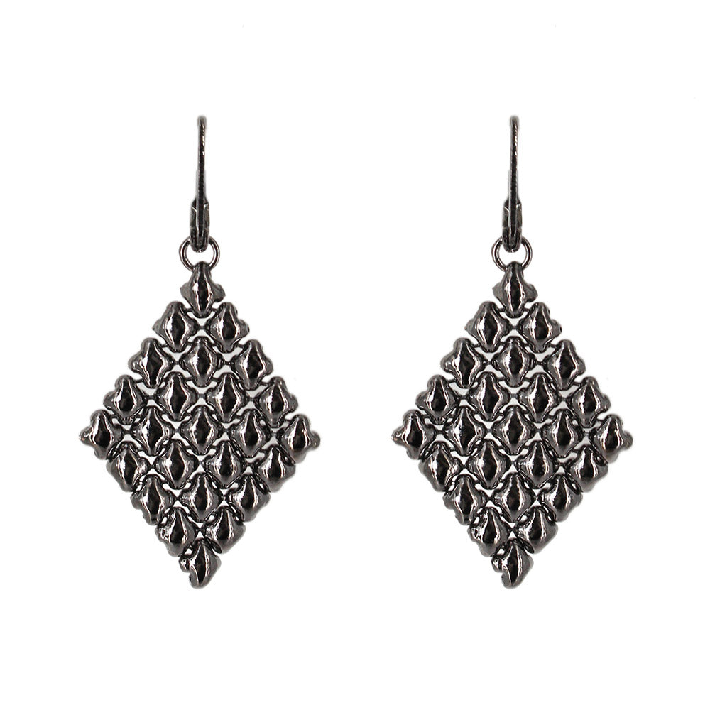 E17-BLK Black Chrome Finish Earrings - Liquid Metal by Sergio Gutierrez