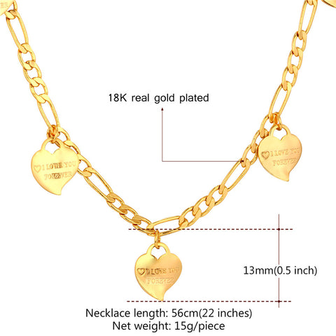 I LOVE YOU Heart Necklace For Women Jewelry Gold Color Figaro Chain Charms Necklace Valentine's Day Gift N747|heart necklace|charm necklace|necklaces for women