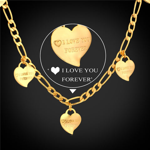 Image of I LOVE YOU Heart Necklace For Women Jewelry Gold Color Figaro Chain Charms Necklace Valentine's Day Gift N747|heart necklace|charm necklace|necklaces for women