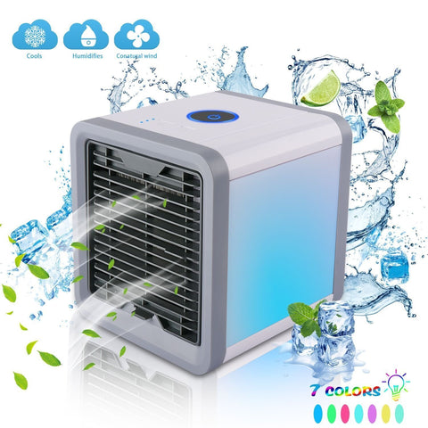 Mini USB Portable Air Cooler Fan Air Conditioner 7 Colors Light Desktop Air Cooling Fan Humidifier Purifier For Office Bedroom|Fans
