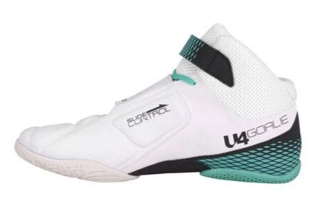Unihoc white/turquoise U4 Goalie Shoes - DekGoalie