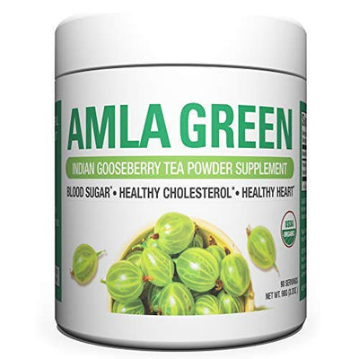 Organic AMLA GREEN Tea Powder – Great Tasting, 20x Concentrated Amla + Oolong Tea Antioxidant Blend – Raw, Vegan, Organic, Non-GMO, Amla Powder 90 servings Regular