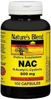 Nature's Blend NAC, N-Acethyl-L-Cysteine 600 mg - 100 Capsules, Pack of 4