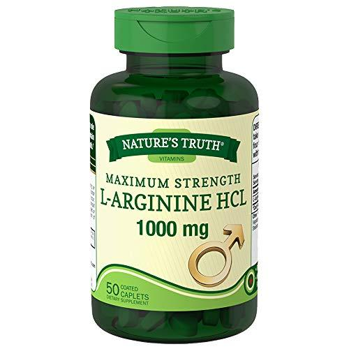 Nature's Truth Maximum Strength L-Arginine HCL 1000 mg Coated Caplets - 50 ct, Pack of 2