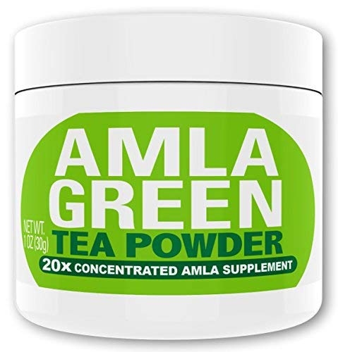 Organic AMLA GREEN Tea Powder – Great Tasting, 20x Concentrated Amla + Oolong Tea Antioxidant Blend – Raw, Vegan, Organic, Non-GMO, Amla Powder 30 servings Regular