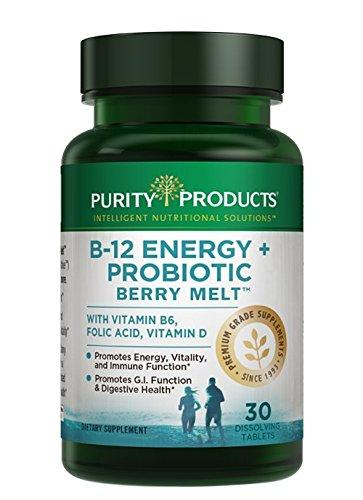 Probiotic Energy Melt - B-12 Energy Berry Melts + Probiotics - ProDura Clinical Probiotic to Promote Gastrointestinal (GI) Function and Digestive Health - 30 Quick Dissolving Melts - Purity Products